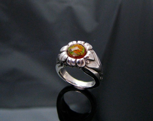 Sunflower Fire Agate Ring