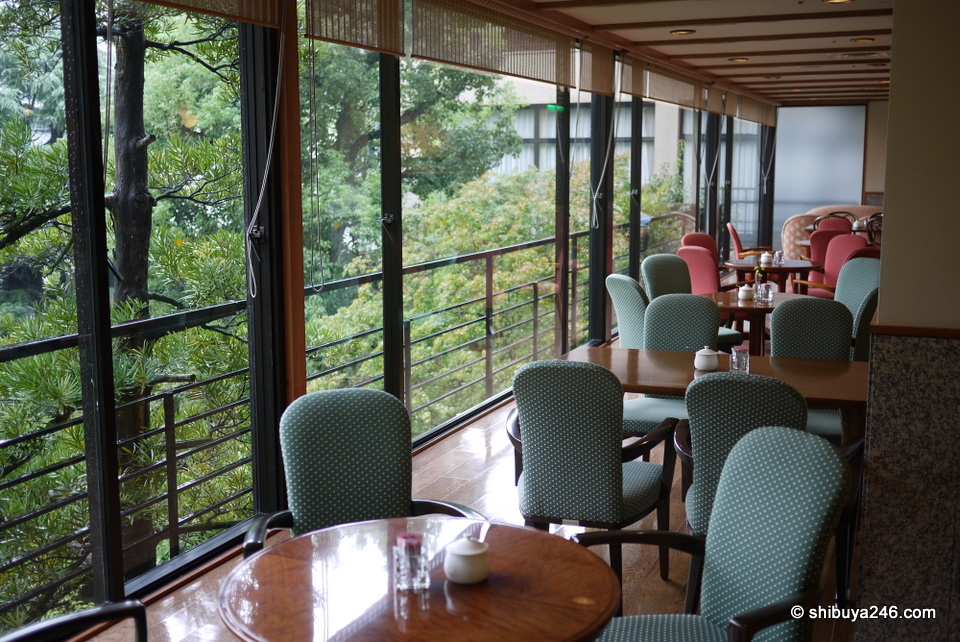 Coffee shop area overlooking the gardens