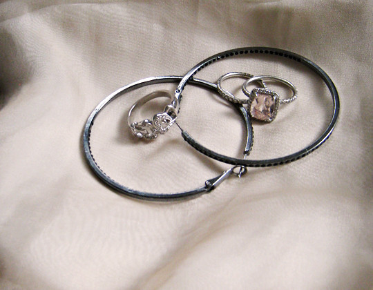 Morganite And Black Diamond Engagement Ring