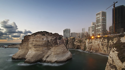 longexposure sunset sea lebanon water buildings island mediterranean middleeast rocky bluesky corniche beirut pigeonrocks d300s catalinmarin momentaryawecom
