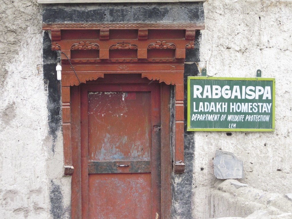 Homestay door in Rumbak Village, India