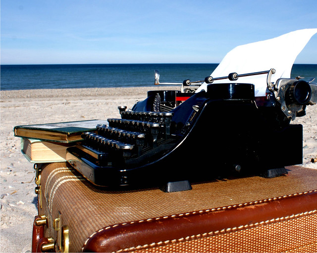 typewriter on the beach 10 x 8