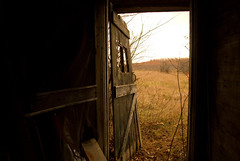232 Silver Lake Rd. - looking out through the door to the farm worker/visitor bathroom area.