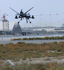 RAF Reaper Unmanned Air Vehicle (UAV) Approaches Kandahar Airfield, Afghanistan