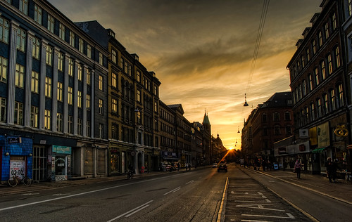 Sunset at the end of Nørrebro