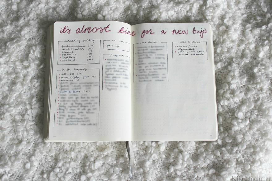 bullet journalin vaihtaminen