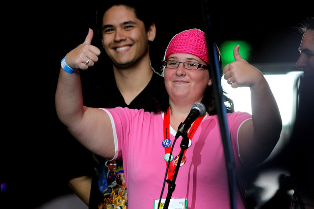A questioner dressed as Meg Griffin during the Family Guy panel at the 2010 ...