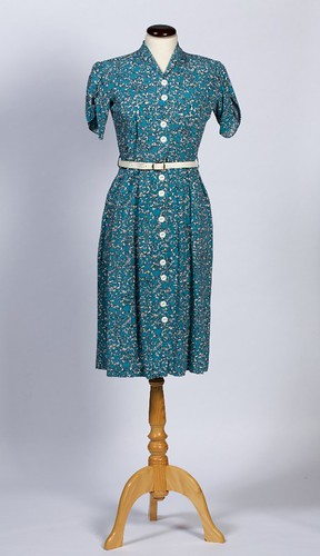 A 1949 Rayon Day Dress (Turquoise Print), HSW_82