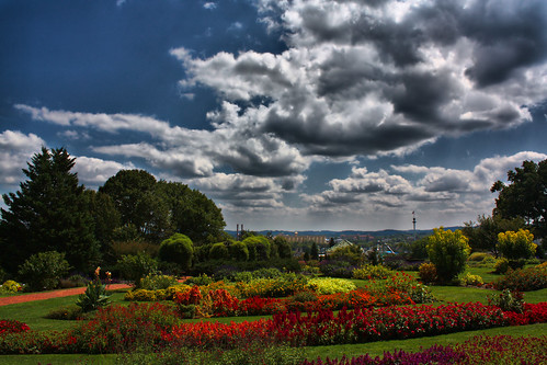 park flowers gardens canon day cloudy tony half hershey babcock hdr xsi