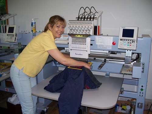 Vicki hard at work | by Embroidery Designs