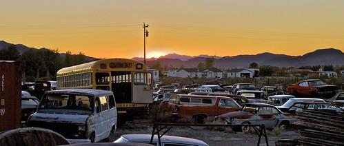 mokastet america usa arizona nevada junkyard sundown abandoned car cars scrapyard bus old oldcar oldtimer forgotten