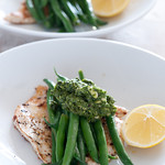 chicken breast with green beans & pesto