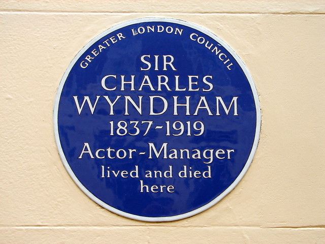 Charles Wyndham blue plaque - Sir Charles Wyndham 1837-1919 actor-manager lived and died here