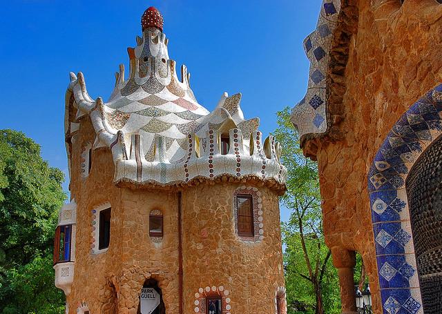 Gaudi building in Parc Guëll, Barcelona