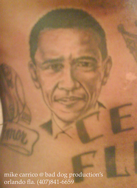Barack obama tattoo done by mike carrico at bad do for Does obama have a tattoo