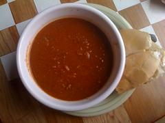 produce(0.0), gravy(1.0), condiment(1.0), tarhana(1.0), tomato soup(1.0), food(1.0), dish(1.0), soup(1.0), cuisine(1.0),