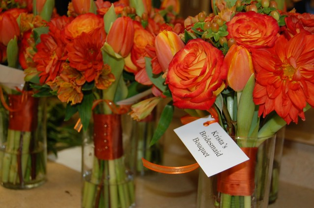 Fall Wedding Bouquets Orange dahlias tulips roses