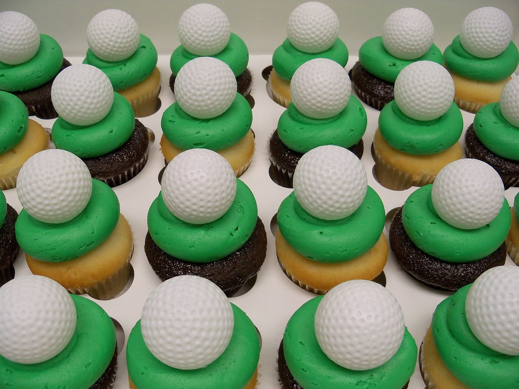 Party hat and golf ball cupcakes from Retro Bakery