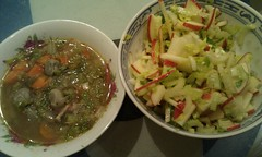 Chicken Vegetable Soup, Celery Apple Salad