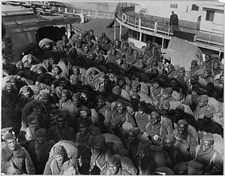 "351st Field Artillery [African American] Troops on the Deck of the ""Louisville""...02/17/1919."