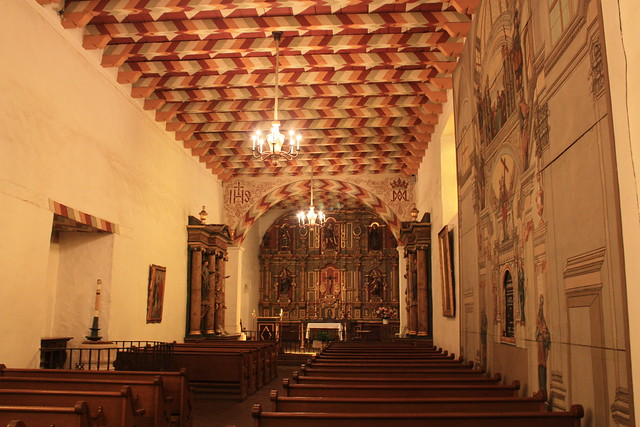 Mission San Francisco de Asis aka Mission Dolores, Looking down the Nave to the High Altar, Catholic Church # 2 - San Francisco CA USA   2010