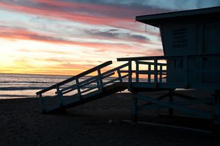 Lifeguard shack at Sunset
