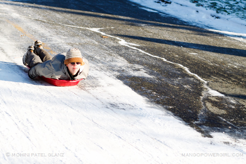 the winning sledding pose