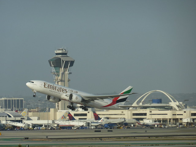 Emirates Airlines Afternoon flight takes off from LAX