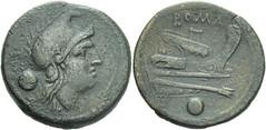 97/7b Luceria L Uncia. Italian civic mint. o / Roma, phrygian helmet / L; ROMA / Prow / o. RR 6g07