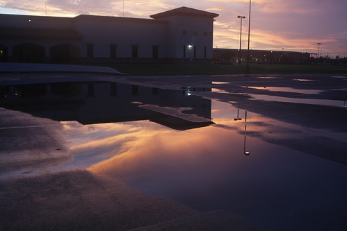 sunset reflection water canon rebel library tx stc southtexascollege puddles magical lightposts xsi weslaco sooc 450d willchive thewillchive