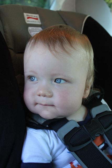 Ian in his car seat.  July 21 2010.