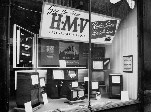 HMV 363 Oxford Street, Londra - TV pencere görüntüleme 1950'lerde