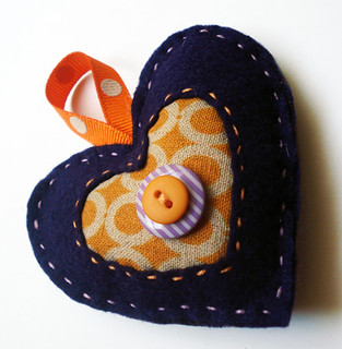 Felt Heart Ornament- Purple and Orange Spots