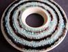 Aqua/Black Donut Pendant by artisanclay