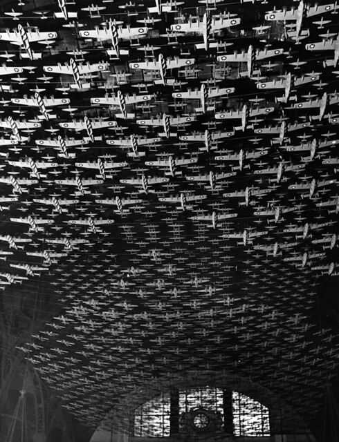 Chicago, Illinois. Model airplanes decorate the ceiling of the train concourses at Union Station 1943