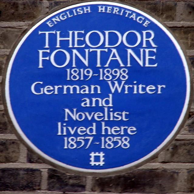 Theodor Fontane blue plaque - Theodor Fontane (1819-1898), German writer and novelist, lived here 1857-1858