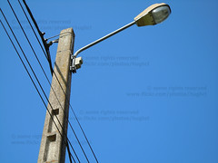 Lamp on a electricity pole