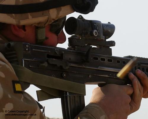 Soldier Fires SA80 Rifle