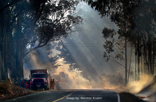 Smoke revealing rays of Sunlight, Pacific Coast Highway 1, Bodega Wildfire, Sonoma County, California