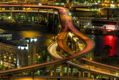 Light Trails on Marquam Freeway at Night - HDR