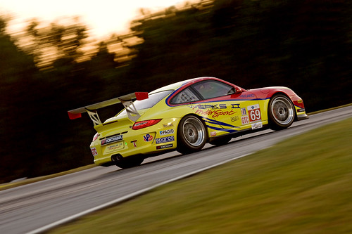 Galen Bieker driving a Porsche GT3 Cup car into the night, at the 13th annual Petit Le Mans