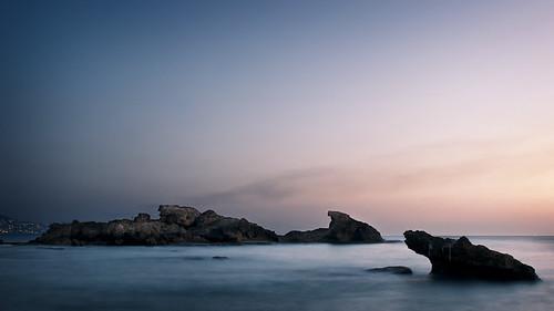 longexposure blue sunset sea lebanon blur water rocks mediterranean dusk middleeast byblos d300s catalinmarin momentaryawecom