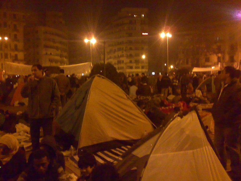 Demonstrators Built Tents in Tahrir Square