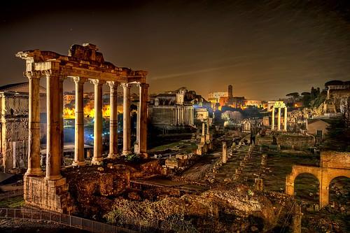 panorama rome roma classic night landscape view roman forum foro romano captain notte harlock d90 sigma1020 paolocapoccia