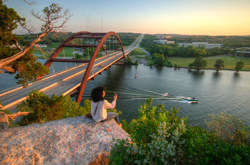 austin texas austintexas austintx tex pennybacker bridge pennybackerbridge coloradoriver austinbridge texasbridge evening sunset selfie