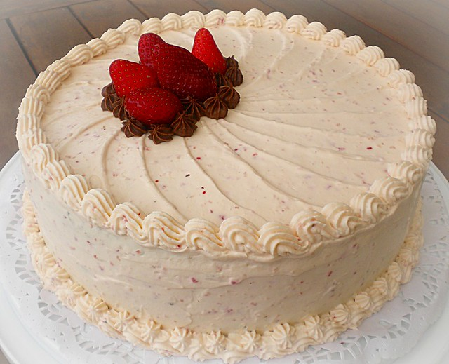 Chocolate Cake with Strawberry Whipped Cream Frosting | Flickr - Photo ...