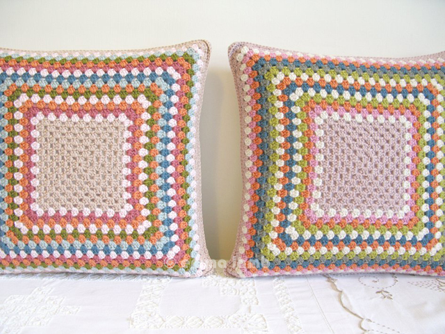 Esme and Doris, hand crochet cushions by Emma Lamb