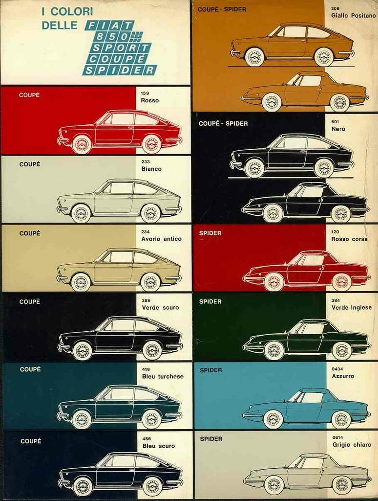 documents the fiat 850 project 1971 fiat 850 family color chart