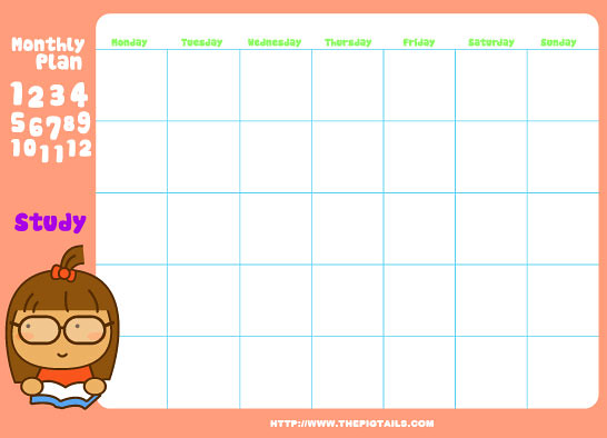 Calendar Templates Cute : Pigtails monthly planners