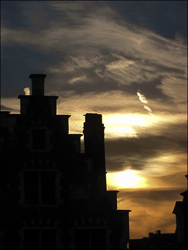 light sunset sky house clouds belgium gent gand flanders